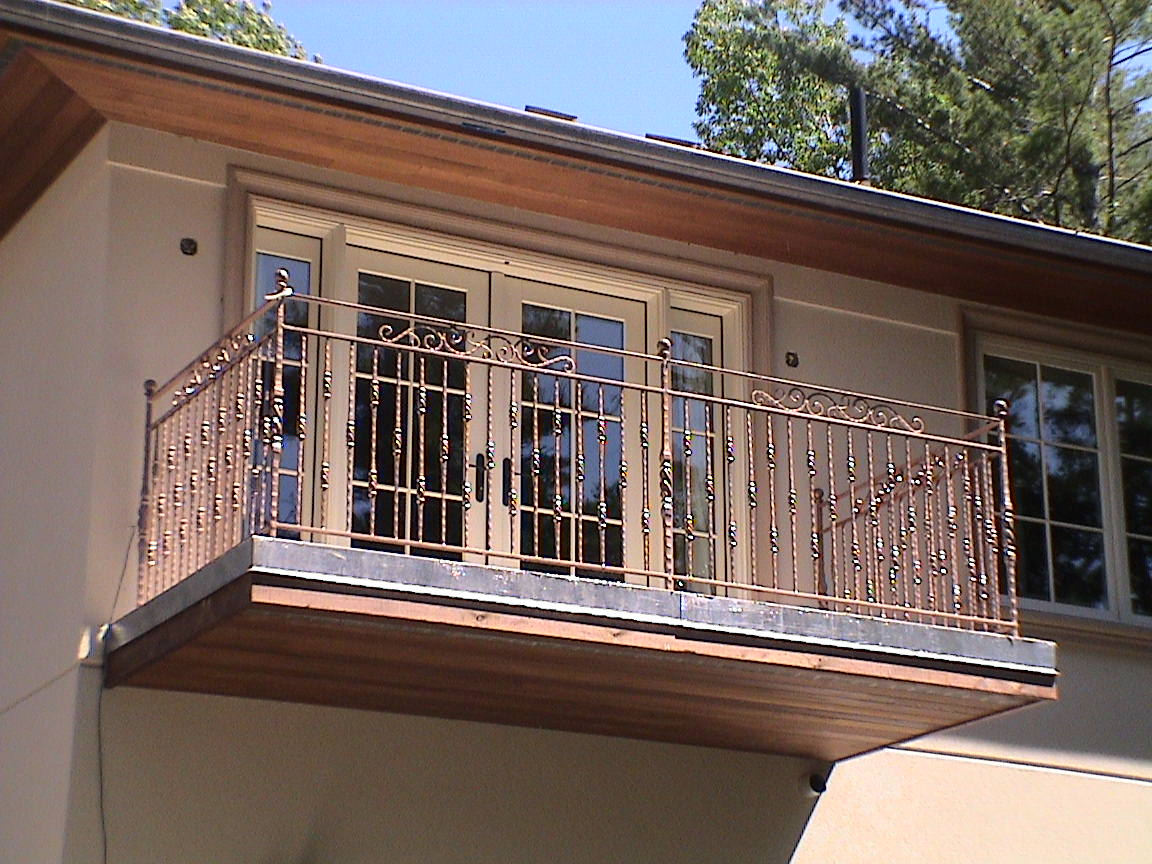 A wrought iron juliet balcony from old iron forge is a for In the balcony